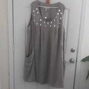 Denim 24/7 Silver Sleeveless Shift Dress with Jewe